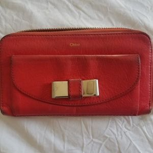 Authentic  Leather Bow Chloe Red Wallet💓